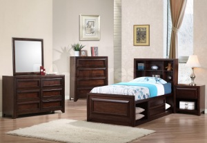furniture-dark-brown-wooden-childrens-storage-bed-with-blue-bedding-set-connected-by-white-fur-rug-on-brown-wooden-laminate-floor-attractive-childrens-storage-beds-with-modern-design-for-beloved-kids
